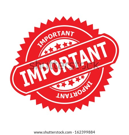 "Rubber stamp or (stickers,tag, icon, sign, symbol, badge, label) with text "" IMPORTANT ""  present by red color for business, office, internet or e-commerce.-jpg format - stock photo"