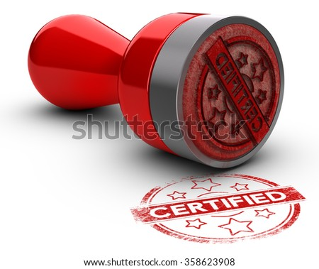 Rubber stamp over white background with the text certified printed on it. concept image for illustration of certification or guarantee certificate. - stock photo