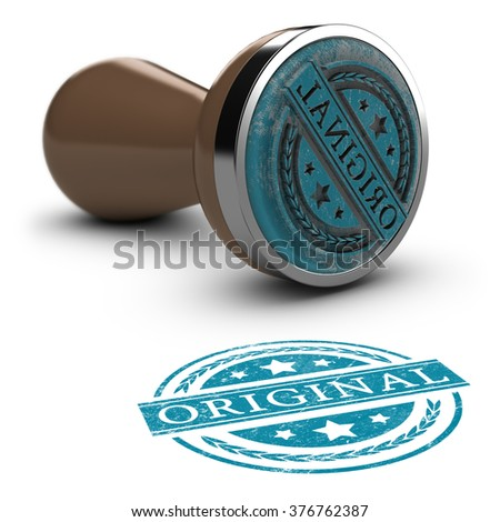 Rubber stamp over white background with the text original printed on it. Concept image for illustration of original copy or against counterfeit.