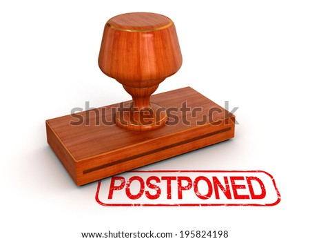 Rubber Stamp postponed  (clipping path included) - stock photo