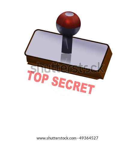 rubber stamp top secret - stock photo