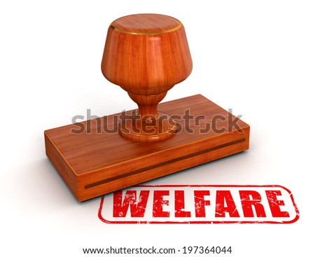 Rubber Stamp welfare  (clipping path included) - stock photo