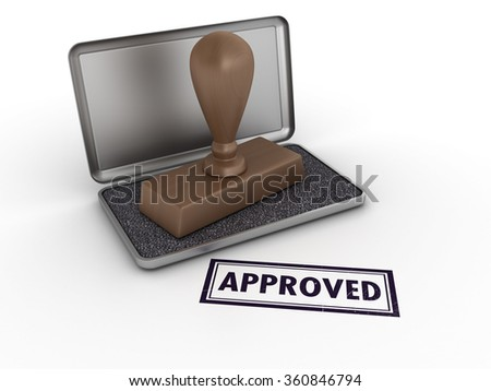 Rubber Stamp with APPROVED Word - High Quality 3D Render  - stock photo