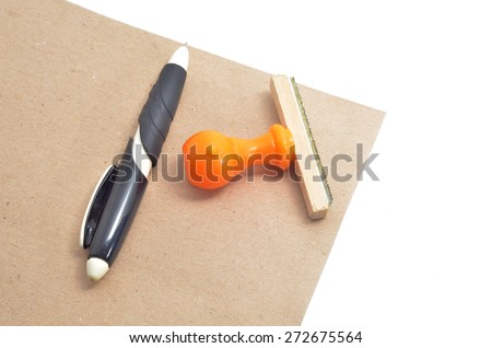Rubber stamp with envelopes on white background. - stock photo