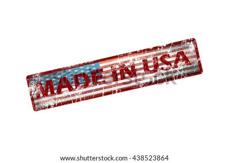 Rubber stamp with text Made in USA icon isolated on white background. american flag.usa flag.grunge flag - stock photo