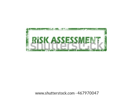 Rubber stamp with text risk assessment inside, green grunge stamp
