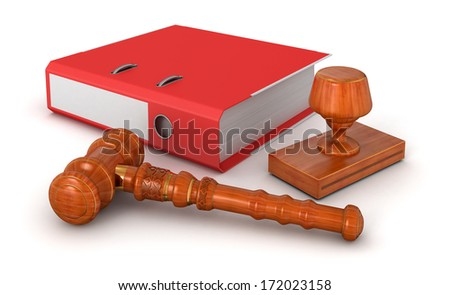 Rubber Stamp,  Wooden Mallet and Document - stock photo