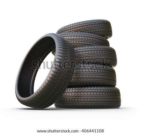 Rubber tire or tyre. 3D icon isolated - stock photo