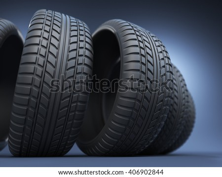 rubber tire or tyre 3D, on blue - stock photo