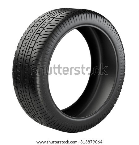Rubber tire. Wheel. 3D image isolated on a white background - stock photo