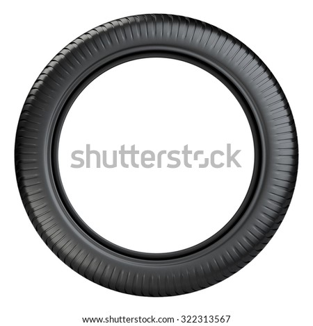 Rubber tire wheel front view. 3D image isolated on a white background