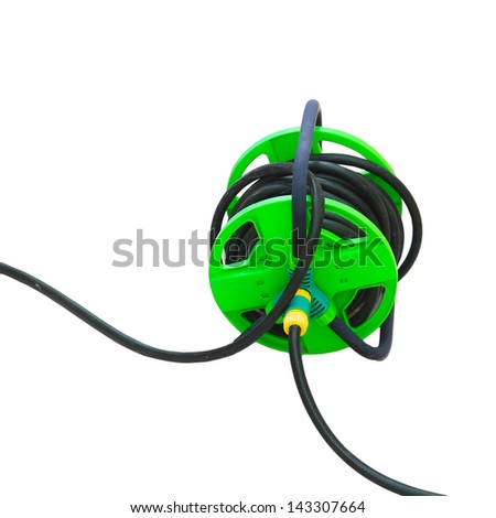 rubber water in garden water hose isolated on black background - stock photo