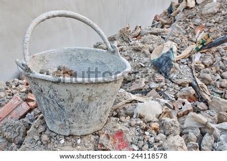 rubbish at construction site  - stock photo