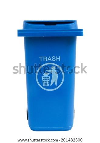 rubbish bin isolated on white - stock photo