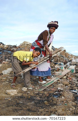 Rubbish collectors, Port Alfred, Eastern Cape, South Africa - stock photo