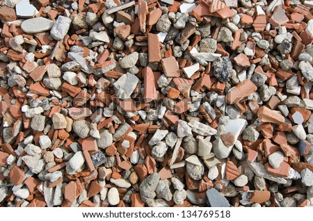 rubble of the building that has been shredded for recycling - stock photo