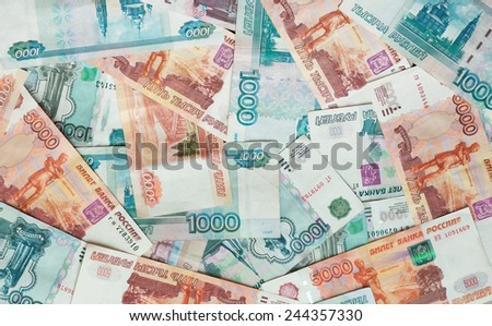 Rubles, Russian money, banknotes. Background - stock photo
