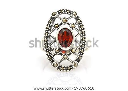 Ruby and diamond bezel style ring - stock photo