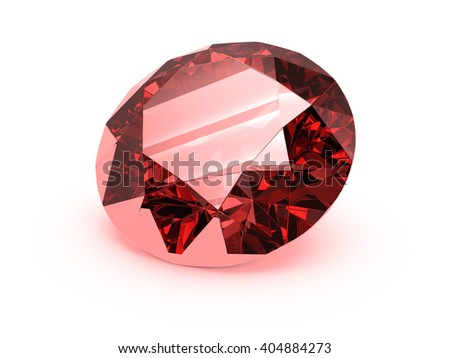 Ruby crystal of a diamond shape on a white background. 3D rendering.