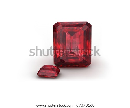 Ruby or Rodolite gemstone on white background - stock photo