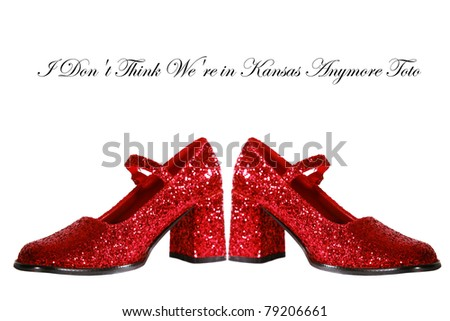 Ruby Red Slippers with red glitter isolated on white with room for your text - stock photo