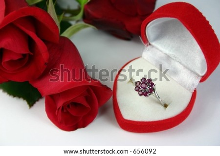 Ruby ring in heart shaped box with red rose buds