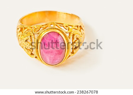 Ruby ring isolated on white