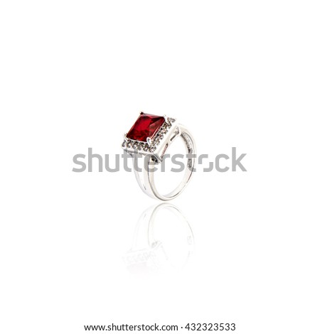 Ruby Ring isolated on white.