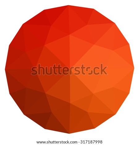 Ruby round gem isolated on white background. Red polygonal sphere with gradient color low poly triangles.