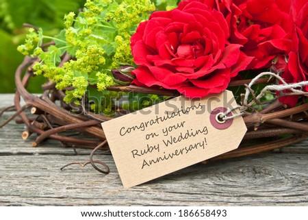 Ruby wedding anniversary card red rosescongratulations stock photo