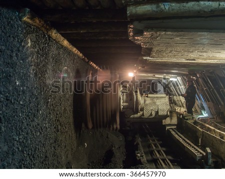 Ruda Slaska, Poland - November 05, 2015: A shearer l machine working  in a coal mine.