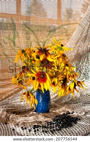 rudbeckia bouquet near the window