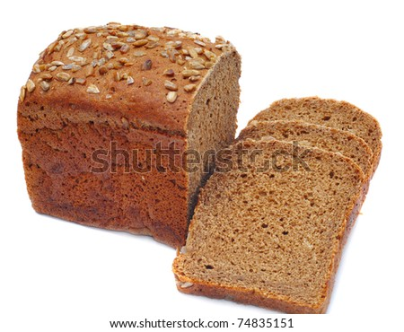 ruddy loaf of bread, isolated on white background - stock photo