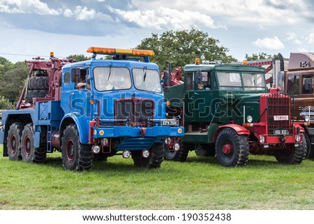 RUDGWICK, SUSSEX/UK - AUGUST 27 : Old trucks on display at the Rudgwick Steam fair in Rudgwick Sussex on August 27, 2011