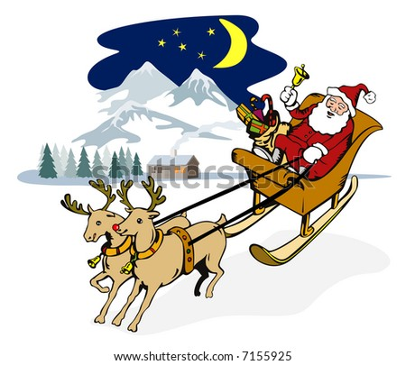 Rudolph the red-nosed reindeer pulling Santa's sleigh - stock photo