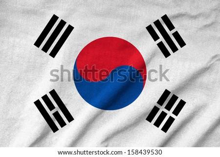 Ruffled South Korea Flag - stock photo