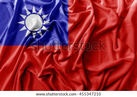 Ruffled waving Taiwan flag - stock photo