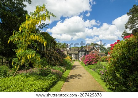Rufford Old Hall and garden - stock photo
