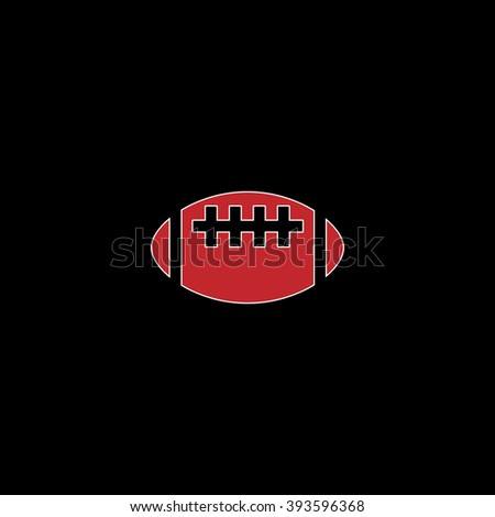 Rugby ball. flat symbol pictogram on black background. red simple icon with white stroke - stock photo