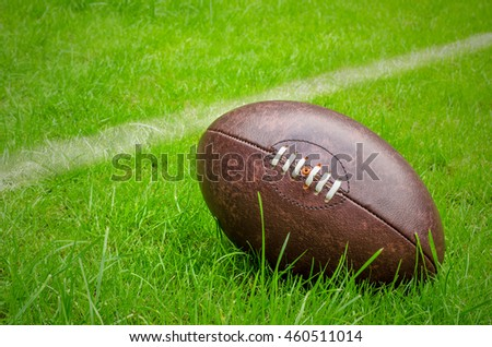 rugby ball near try line on rugby pitch grass with copy space