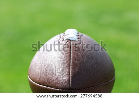 Rugby ball on close up - stock photo