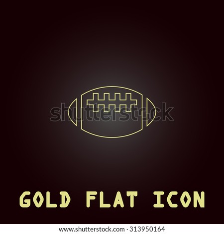 Rugby ball. Outline gold flat pictogram on dark background with simple text. Illustration trend icon