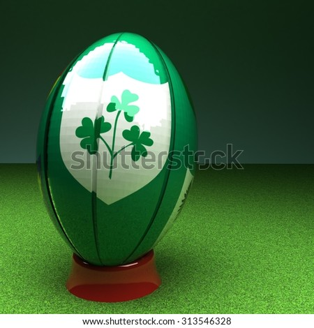 Rugby ball with Ireland flag over green grass field, 3d render, square image - stock photo