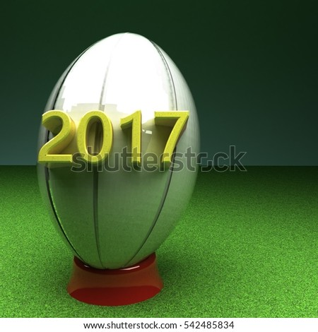 Rugby ball with year 2017, 3d rendering