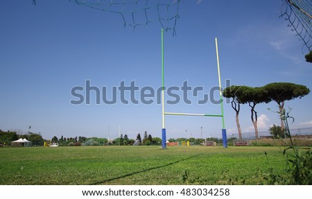 rugby field with rugby post, sport concept