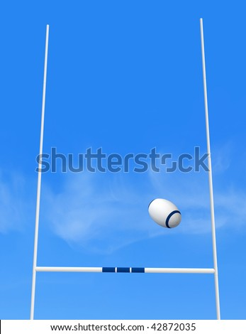 rugby goal post and ball against blue sky -the image on back ground is a my photo - stock photo