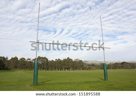 Rugby goal posts - stock photo