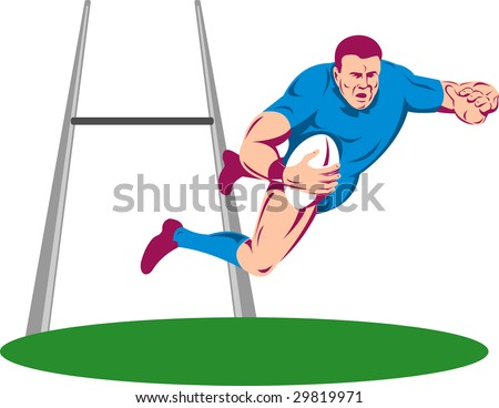 Rugby player diving to score a try with goal post in the background - stock photo