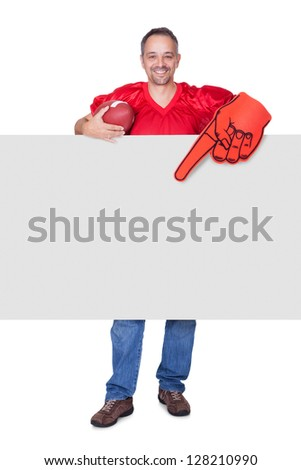 Rugby Player Holding Rugby Ball And Placard On White Background - stock photo