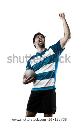 Rugby player in a blue uniform celebrating. White Background